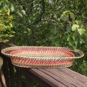 Vintage Accents - Vintage Boho Woven Colors Oblong Basket